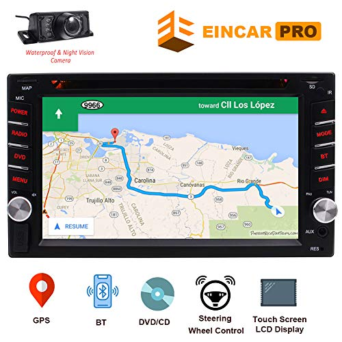 "Double Din 6.2"" Touch Screen 2 Din Car Stereo in Dash Receiver DVD CD 1080P Video Player Bluetooth GPS Navigation FM/AM RDS Radio TF/USB/AUX-in/Subwoofer/SWC +Remote Control-Free Rear View Camera"