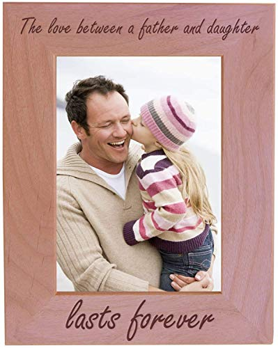 CustomGiftsNow The Love Between A Father and Daughter Lasts Forever Natural Alder Wood Tabletop/Hanging Photo Picture Frame (8x10-inch Vertical)