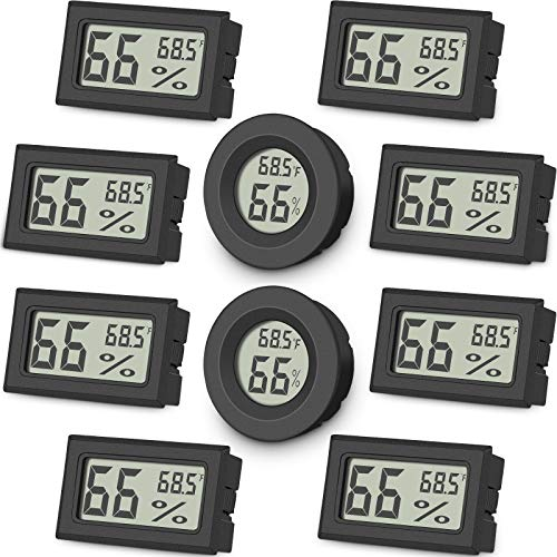 10-Pack Mini Digital Thermometer Hygrometer, Indoor Room Round Temperature Humidity Meter Gauge monitor, Large LCD Display Fahrenheit or Celsius for Greenhouse, Home, reptile, Humidors, office, Garden