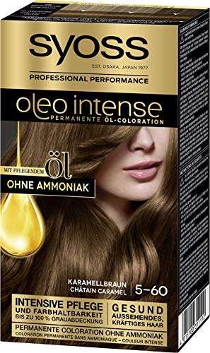 SYOSS Oleo Intense Permanente Öl-Coloration 5-60 Karamellbraun, mit pflegendem Öl & ohne Ammoniak, 3er Pack (3 x 115 ml)