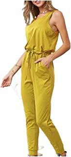 neveraway Women's Casual Top Sleeveless Jumpsuit Drawstring Waist Long Rompers