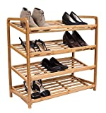 BirdRock Home 4 Tier Bamboo Shoe Rack - Home Storage Wood Organization - Natural Durable Environmentally Friendly Organizer - Closet Cabinet Shelves Shelf - Fits 9-12 Shoes