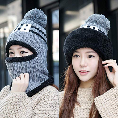 Fashion Warm Knit Hat Trendy Wild Wool Cap Creative Cold Bib Integrated Earmuffs, Buff, One Size, S-C, Gris, Taille unique