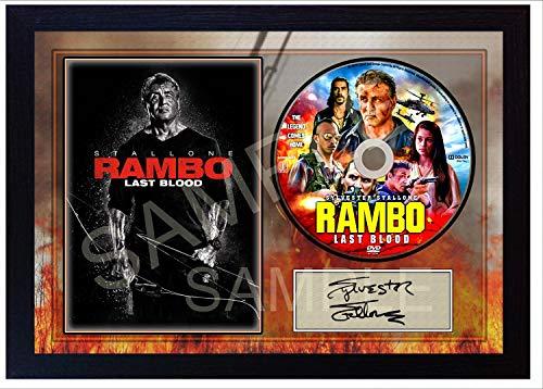 SGH SERVICES NEW! Rambo 5 Last Blood Sylvester Stallone - Disco de CD con foto enmarcada