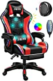 Gaming Chair with LED Light/Pro Gaming Chair with Bluetooth Speakers, Full Massager Lumbar Support and Bluetooth Speaker Video Gaming Chairs LED Lights Load-Bearing 150KG,Red