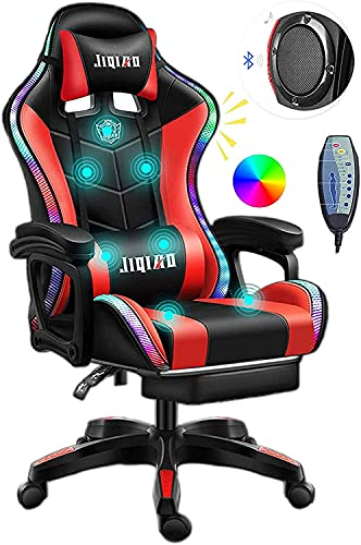 Gaming Chair with LED Light/Pro Gaming Chair with Bluetooth Speakers, Full Massager Lumbar Support and Bluetooth Speaker...