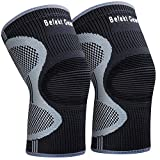Befekt Gears Knee Support for Men Women, [2 Pack] Breathable Anti-Slip Knee Brace Compression Sleeve - Ideal...