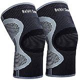 Befekt Gears Knee Support for Men Women, [2 Pack] Breathable Anti-Slip Knee Brace
