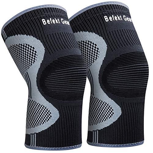 Befekt Gears Kniebandage Sport, [2 Stück] Knieschoner Kompression Kniestütze, Atmungsaktiv und rutschfest für Schmerzlinderung, Fußball, Laufen, Crossfit und mehr Sport