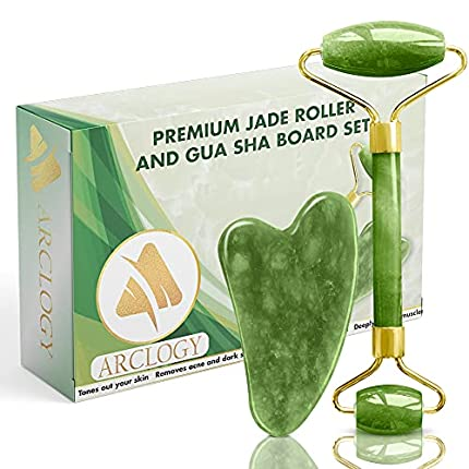 ARCLOGY Jade Roll, Gua Sha Jade Roller Authentic Massager, Natural Roller Anti Aging Facial Massage, Anti Aging Eye, Face and Neck Anti Wrinkle, Face Stone Massage (Rodillo verde Green)