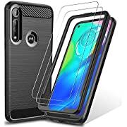 GESMA for Moto G Power Case with Screen Protectors, [2 Screen Protectors+1 Case+1 Tray] Scratch Resistant & Anti Slip Grippy Soft TPU Case Tempered Glass Screen Protector for Moto G Power (Black)