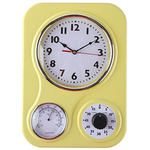 Lily's Home Retro Kitchen Wall Clock, with a Thermometer