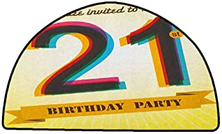 Office Chair Floor Mat Foot Pad 21st Birthday,Invitation to an Amazing Birthday Party on a Golden Colored Backdrop Image, Multicolor,W35