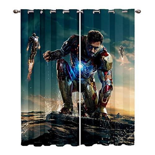 Baryy Iron Man Cortinas Opacas 2X 75x166cm(WxH) - 3D Impresión Digital Cortinas Aislantes Térmicas - Cortinas Perforadas Sala de Estar Cortinas Opacas