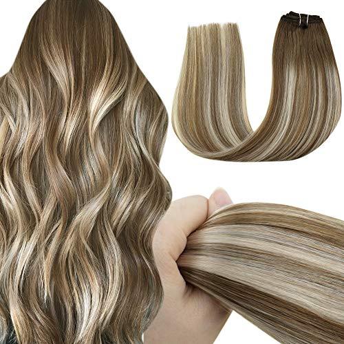 LaaVoo Clip Extensiones Cabello Rubio Clip on Balayage Hair