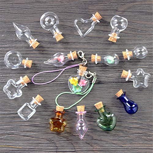 Mini-Glasflaschen, Schlüsselanhänger, Anhänger, kleine Wunschflaschen mit Kork-Phiole, Kunstgläser, für Armbänder, Geschenke, 10 Stück