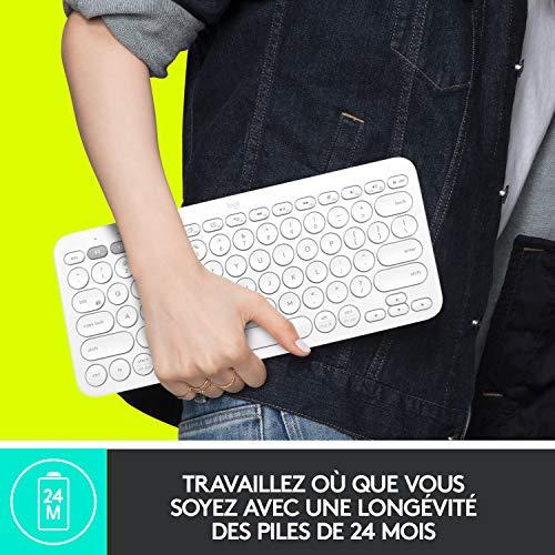 Logitech K380 Kabellose Bluetooth-Tastatur, Multi-Device & Easy-Switch Feature, Windows- und Apple-Shortcuts, PC/Mac/Tablet/Handy/Apple iOS+TV, Französisches AZERTY-Layout - schwarz