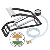 RAJ CREATION® Imported 150PSI Tyre Foot Operated Air Pump Heavy Steel Body Foot Pump Inflator for Car and Bike Tires, Football, Cycle, Pools, Sports - Compact Heavy Duty Pump - (Silver)
