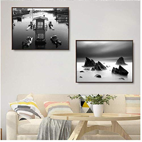 A&D Hauptdekoration Druck Leinwand Bild Wandkunst Gemälde Zeichnungen Schwarz-Weiß-Stadtlichter rocken Schornstein -60x80cmx2pcs- No Frame