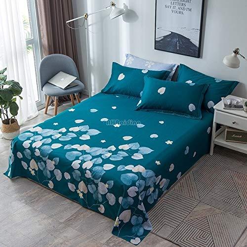 Blauwe Blad Print Plat Zacht en Warm 100% Katoen Linnengoed Double Queen Bedding Zonder Kussensloop - Huis & Tuinlakens