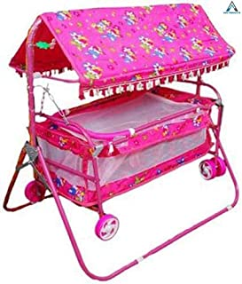 AND PRODUCTS Baby Cradles Swing Cum Cot and Stroller (Print May Vary; Pink)