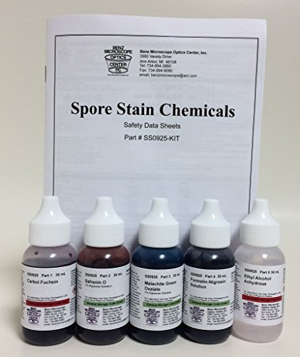 Benz Microscope Spore Stain Chemicals Slide Staining Kit