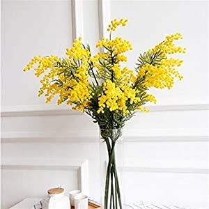 DETOAM 57cm Fake Yellow Flower Branch Artificial Plant Mimosa Plastic Leaves Small Pompon Stamen for Dining Table Bedroom Decor (Size : 12pcs)