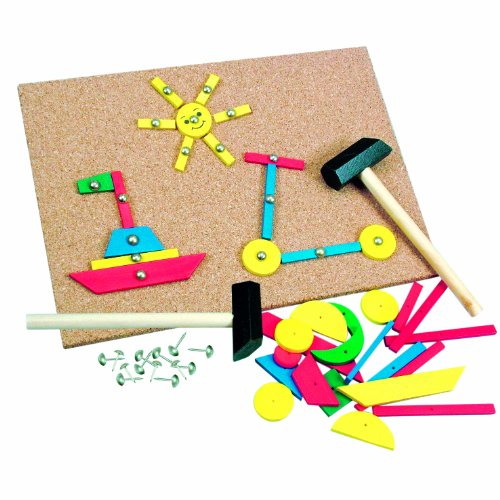 Bino Hammerspiel, Kinder Spielzeug ab 3 Jahre, Kinderspielzeug (Holzspielzeug mit 229 bunten Holzblättchen, vielfältige Formen, Motorikspielzeug inklusive Hammer & Nägel), Mehrfarbig