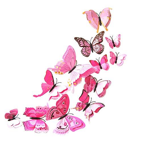 Rovinci_Wandtattoo Juego de 12 Adhesivos Decorativos en 3D con diseño de Mariposas para Pared, decoración de Habitaciones, Dormitorio, casa, jardín de Infancia, Aula, Oficina