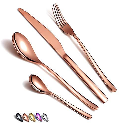 Juego de cubiertos de oro rosa 24 piezas, juego de cubiertos de cobre de acero inoxidable, juego de cubiertos de oro rosa chapado en titanio, juego de utensilios de servicio para 6 (cobre brillante)