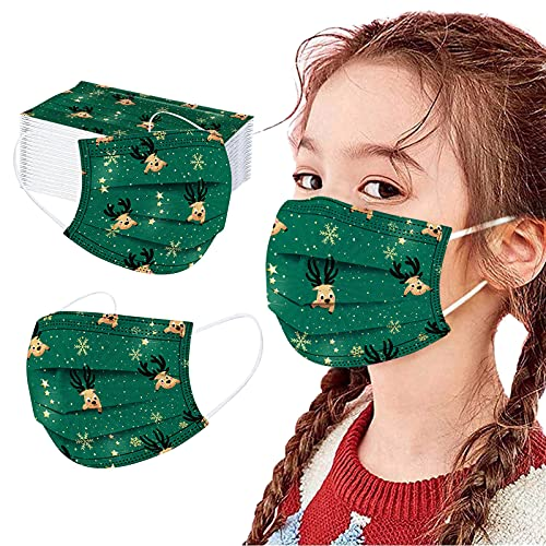 50PC Disposable Face_Masks Kids Breathable Christmas Patterns Childrens Face_Mask with Elastic Earloops for Boys Girls