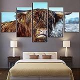 WYNH Lienzo decorativo, 5 unidades, pintura decorativa de estilo nórdico, animal, vaca, para salón, sin marco, 40 x 60 cm x 2 40 x 80 cm x 2 40 x 100 cm