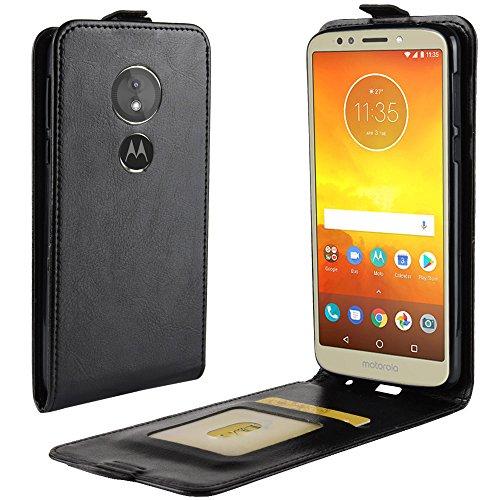 Zl One Compatível com/Substituição para Capa de telefone Motorola Moto E5 / G6 Play Couro Poliuretano Proteção Cartão Compartimentos Capa carteira Capa flip (Preto)