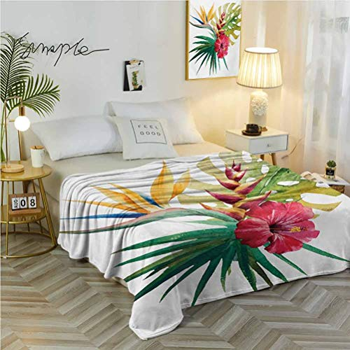 """54"""" W x 84"""" L Floral Cozy Blanket Pattern Decorative Wild Tropical Orchid Flower with Large Leaves Exotic Tropic Petals Picture Fuchsia Forest Green"""
