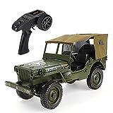 TIAO RC Jeep Juguetes 1/10 2.4G 4WD Cuatro Ruedas Off-Road Escalada Militar de Coches Niños para,Verde