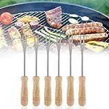 6pcs BBQ Forcella In Acciaio Inox Campeggio Barbecue Forche Telescopiche con Manico In Legno Hot Dog Spiedini per Bambini Sicuro Barbecue Forche per Cucina Picninc