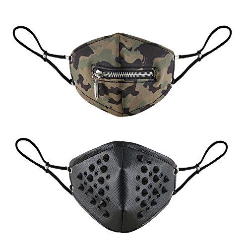 Aroncent 2PCS Motorrad Maske Leder Gotic Punk Tarnung Reißverschluss Patronenhülse Spikes Nieten Tarnmaske Skimaske Bikermaske Snowboardmaske Outdoormaske Paintballmaske Sturmhaube