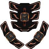 Mixiu EMS 腹筋ベルト 腕筋 背筋 トレーニン器具 液晶表示 USB充電式 腹筋パッド 6種類モード 9段階強度 男女兼用 (オレンジ)