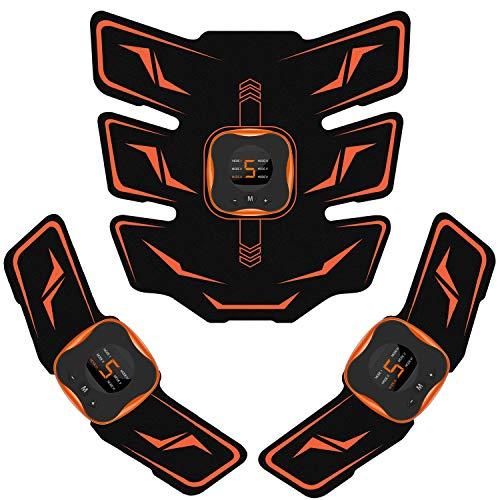 Mixiu EMS 腹筋ベルト 液晶表示 USB充電式 腹筋パッド 6種類モード 9段階強度 腕筋 背筋 トレーニン器具