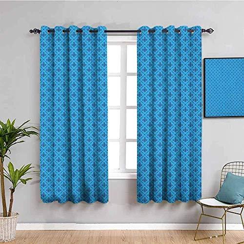 Azbza Cortinas Opacas Salón - Azul retro cuadros simple - 90% Opacas Proteccion Intimidad - W280 x H290 cm - Salón Dormitorio Cortina Gruesa y Suave para Oficina Moderna Decorativa Cortinas