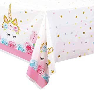 Beauenty 2pcs Unicorn Disposable Party Table Cloths, Waterproof Plastic Tablecloths Rectangle Tables for Decorations, Baby...