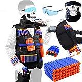Meiqils 45pcs Gilet Tactique pour Nerf Guns, L'Enfants N-Strike Elite Series-1 Masques, 1 Sac de pistolet, 1 Lunettes de Protection, 1 Bande de Poignée, 40 Fléchettes pour Nerf Combat d'imitation