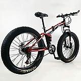Plegable Doble Amortiguación Velocidad Variable Freno De Disco Bicicleta De Montaña 26''24''Neumático De Grasa De Rueda Ancha 4.0 Bicicleta para Hombres Y Mujeres,Bicicleta De Nieve-D 26inch