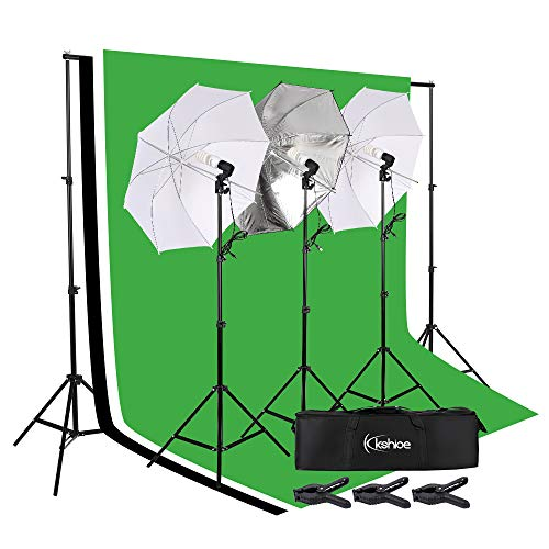 Kshioe Lighting Kit 6.6ft x 9.8ft Background Support System and Umbrellas Continuous Lighting Kit for Photo Studio Product, Portrait and Video Shoot Photography