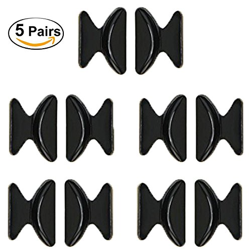 MINGZE Par de almohadillas de nariz de 5 pares de almohadillas de nariz de silicona antideslizante de 1,8 mm (Negro)