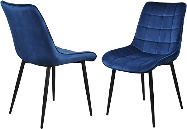 Dining Chairs Accent Chairs Set Of 2 Velvet Fabric Side Chairs With Sturdy Metal Legs For Home Kitchen Living Room Blue