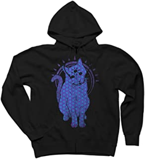 Trippy Kitty: flower of life edition Men's Graphic Zip Hoodie