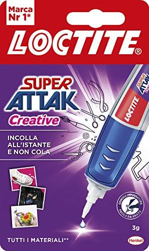 Loctite Super Attak Creative, Colla Resistente con Applicatore a Penna per Applicazioni Facili e Precise, Colla Gel Trasparente per Gomma, Metallo, Pelle, Ecc., 1X3G