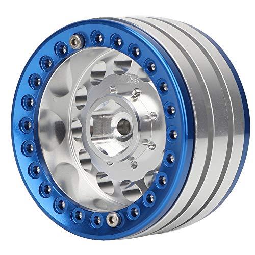 Drfeify 4 Unids 1.9in Aluminio Beadlock Llantas Ruedas Hubs para SCX10 1/10 RC Crawler Car(Azul Plateado)