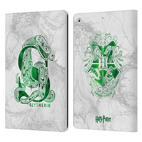 Official Harry Potter Slytherin Aguamenti Deathly Hallows IX Leather Book Wallet Case Cover Compatible For Apple iPad 10.2 (2019)/(2020)